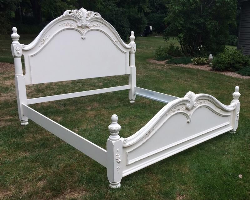 White painted romantic king bed