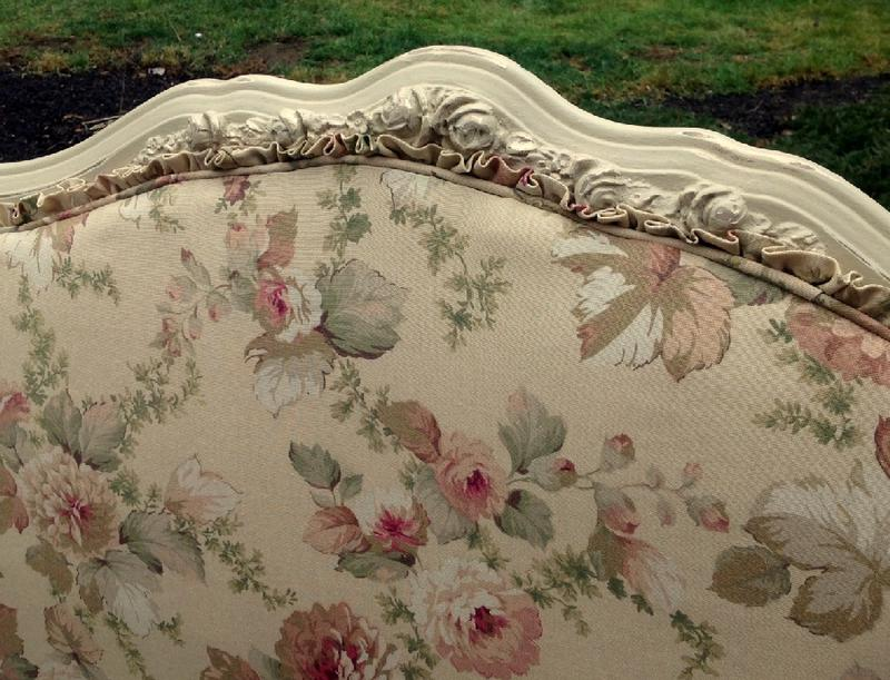 Upholstered headboard with ruffle