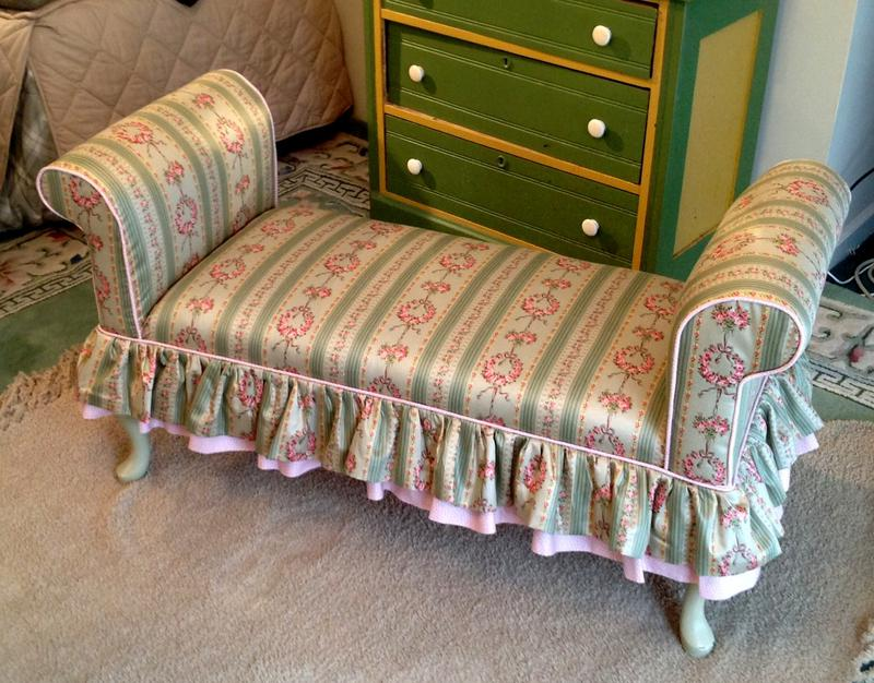 Vintage upholstered petite couch