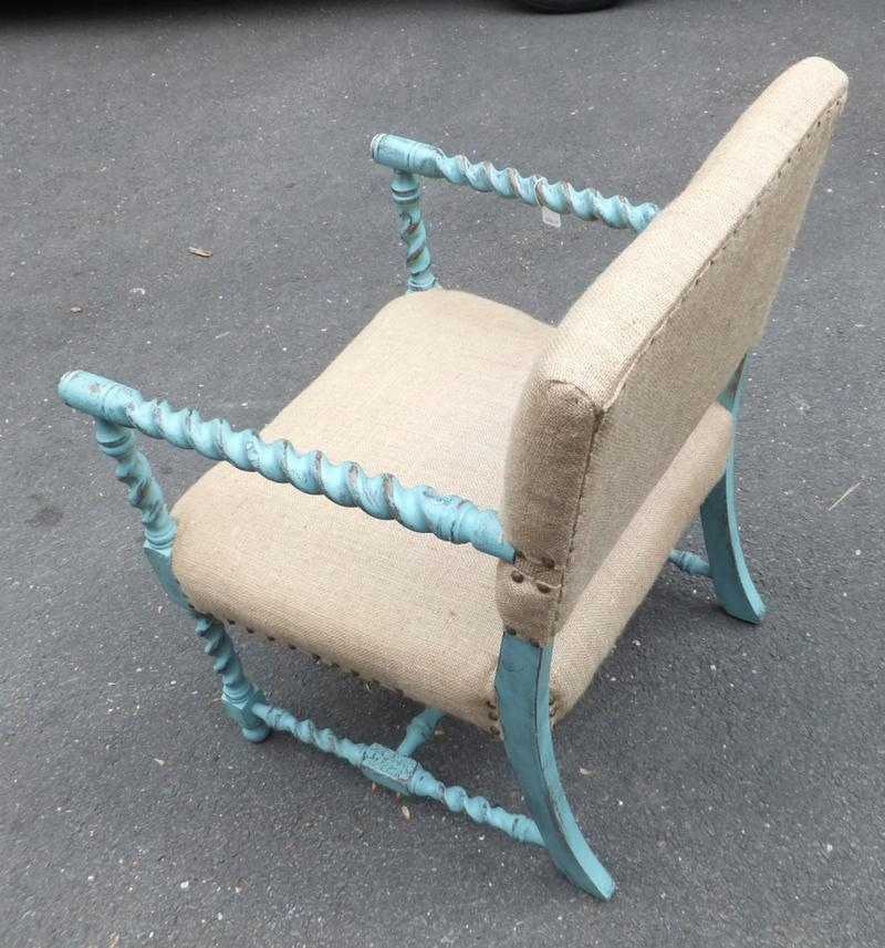 Chair painted with chalk paint, waxed and upholstered in burlap.  Teal