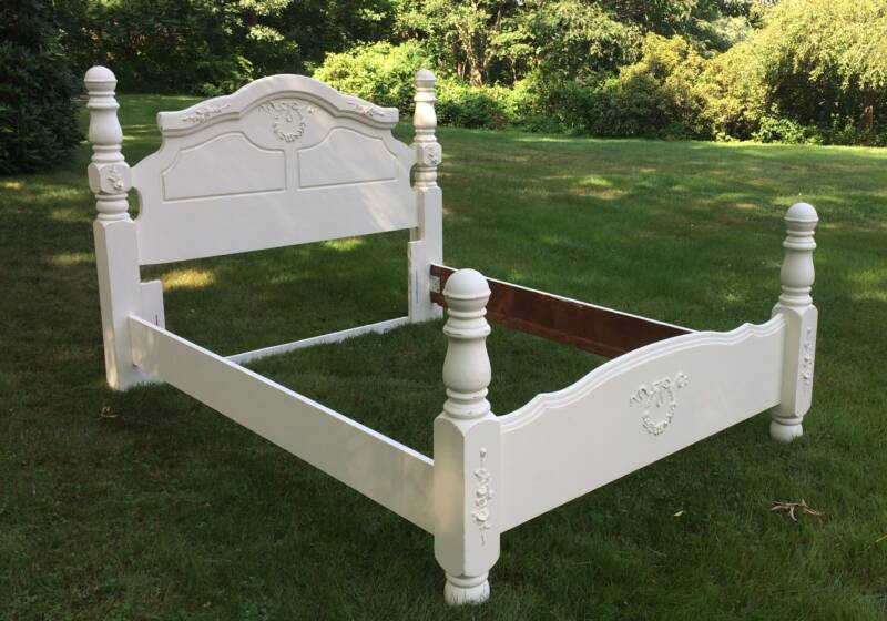 Vintage painted queen shabby chic bed