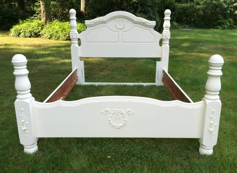 Queen size painted shabby chic bed