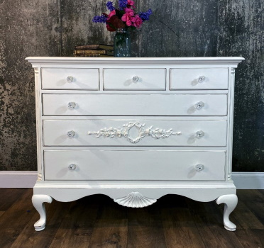 Shabby chic painted dresser with rose appliques