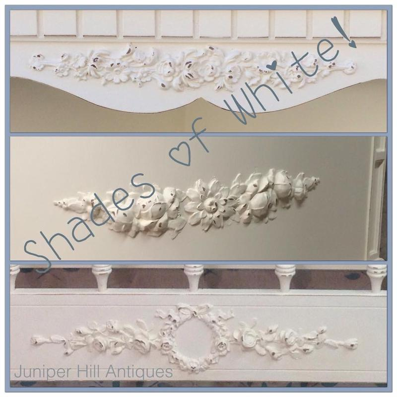 Painted embellished timeworn white shabby chic furniture