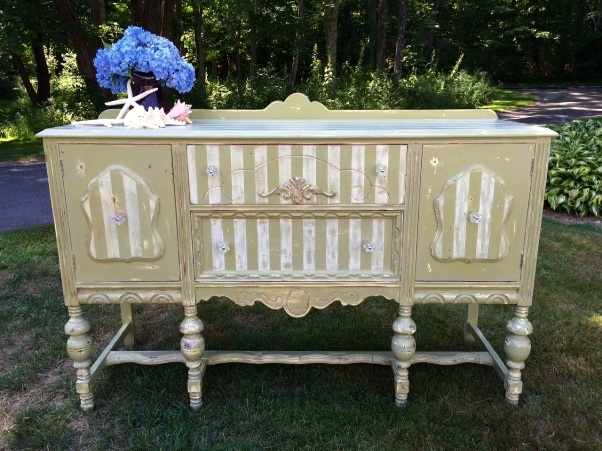 Shabby chic striped sideboard painted