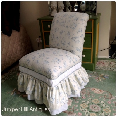Vintage upholstered slipper chair in Ralph Lauren linen