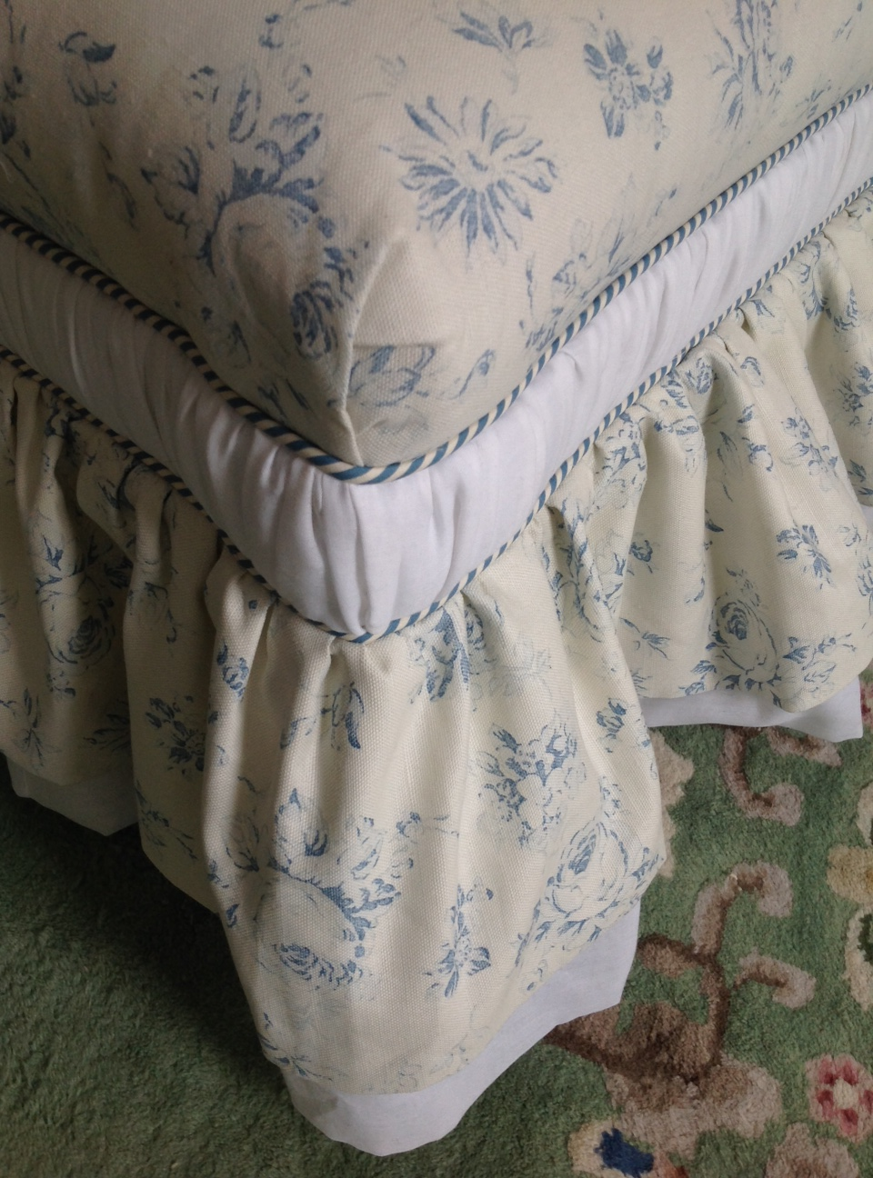 Ralph Lauren linen in blue roses on slipper chair