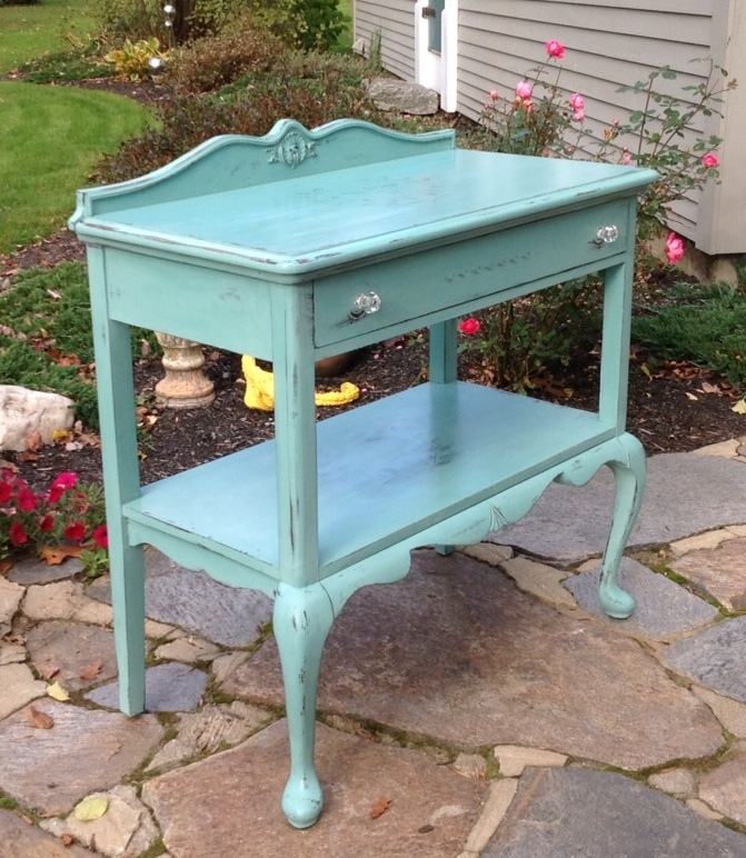 teal painted sideboard with French stencil