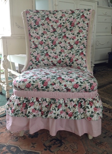 rose print upholstered shabby chic chair