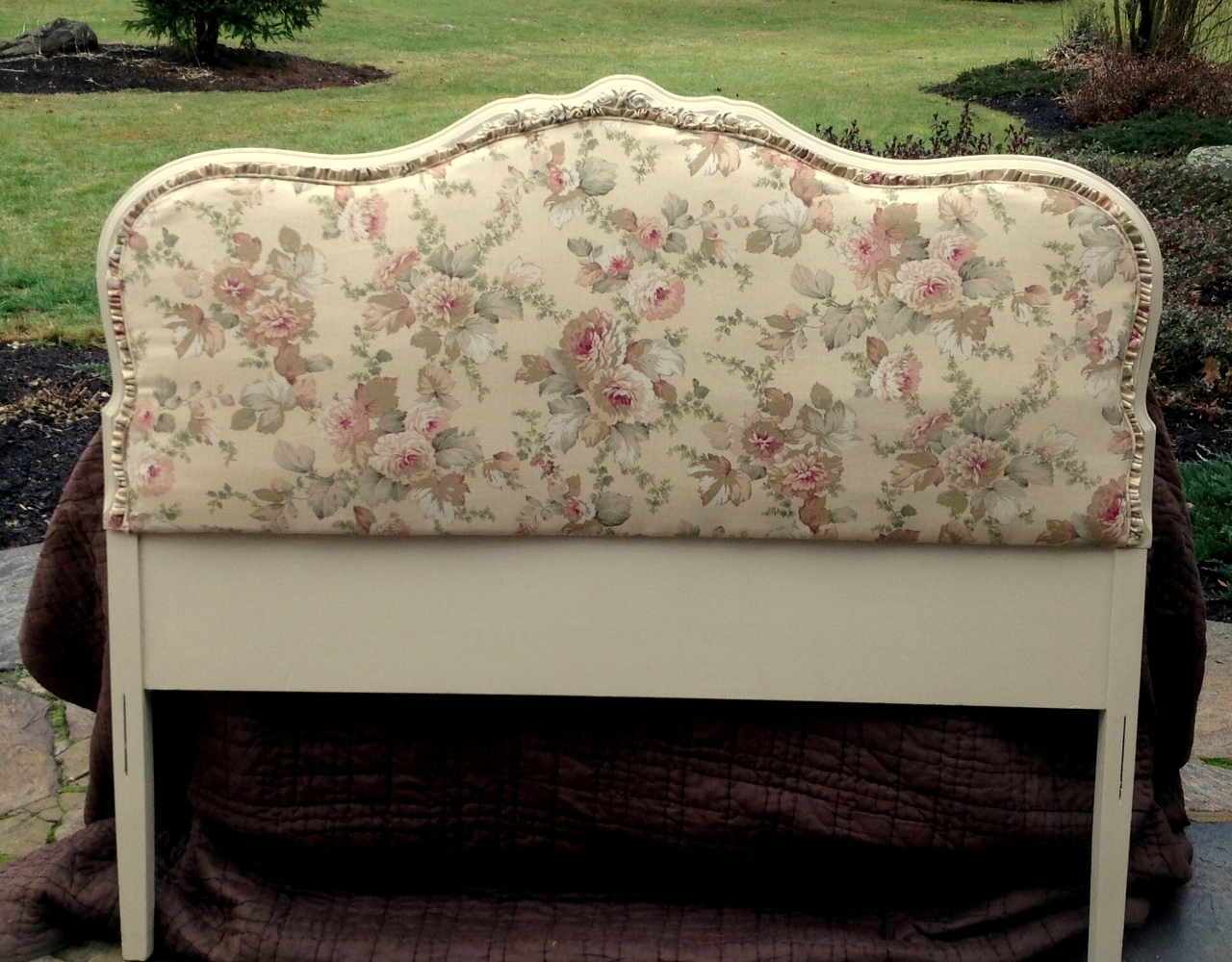 Shabby chic upholstered headboard vintage rose